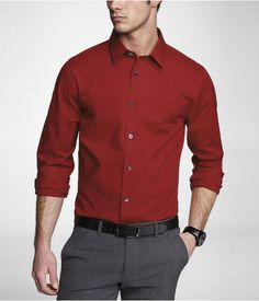 Express Mens Fitted 1Mx Stretch Cotton Shirt