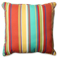 Bold, multicolored stripes splash across this energetic outdoor throw pillow. Enhance your outdoor space with this vibrant pop of pattern and well-crafted design. Classic floor pillows are a wonderful way to quickly add style and functionality to your home. - Fade Resistant, UV Protection, Weather Resistant - Suitable for indoor and outdoor use. - Care Instructions: Spot Clean Only Pillow Perfect - 578392   Pillow Perfect 578392 Westport Spring 25 in. Outdoor Floor Pillow, Whimsical… Large Floor Cushions, Outdoor Cushions And Pillows, Buy Pillows, Outdoor Pillow Covers, Decor Pillows, Decorative Throw Pillows, Pillow Fabric, Outdoor Flooring, Dark Flooring