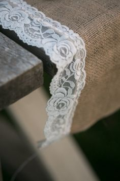 DIY burlap & lace runner Making for thr door table how perfect!