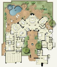 I love the idea of a courtyard and the u-shaped house. With corners instead of rounded edges this could work.