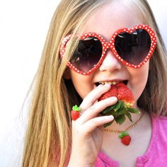 Make colorful strawberry jewelry this summer! It's easy and fun, and great to do with kids!