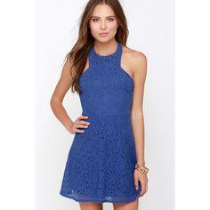 Dee Elle Broadway Street Royal Blue Lace Halter Dress ($64) ❤ liked on Polyvore