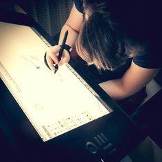 First sketching on Cintiq 24HD.