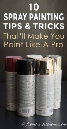 Learn how to spray paint evenly and without drips using these spray painting tips and tricks. Whether you are painting metal or wood, furniture or glass, indoors or outdoors, these techniques will help you get a great finish. #fromhousetohome #spraypainting #paintingtips #diyproject #paint #spraypaint #painting #diyspraypainting Spray Paint Dresser, Spray Painting Wood Furniture, Spray Paint Tips, Spray Paint Wood, Spray Paint Projects, White Spray Paint, How To Paint Metal, Spray Paint Techniques, Paint Cans