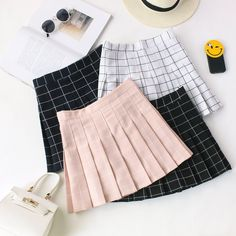 "Students tall waist pleated grid skirt Coupon code ""cutekawaii"" for 10% off"