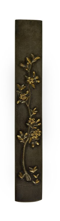 Kozuka with a Young Cherry Tree in Bloom / Shibuichi & gold