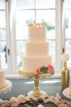 Gold Cake Stand and 'Love' Topper