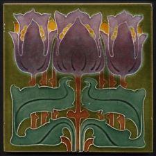 TH3008 Fabulous Marsden Art Nouveau Majolica Triple Tulip Tile Rd.1901