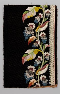 Japanese Embroidery Silk Embroidery sample for mens' suit (French, ). Silk thread on silk velvet. All the Pretty Flowers Japanese Embroidery, Crewel Embroidery, Hand Embroidery Patterns, Ribbon Embroidery, Machine Embroidery, Embroidery Scissors, Embroidery Books, Border Embroidery, Embroidery Needles