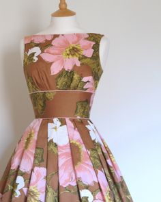 Russet and Japanese Blossom Pink Print Cotton Prom Dress - Made by Dig For Victory