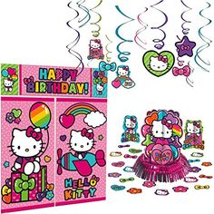Amscan Hello Kitty Rainbow Decoration Pack  Hanging Swirls Scene Setter and Table Decorating Kit * Want additional info? Click on the image.