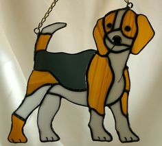 Stained Glass Jack Russell Dog Suncatcher by glassnwood on Etsy