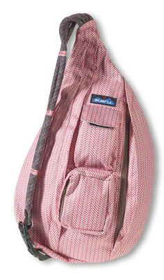 KAVU Rope Sling-Fishtail-100% Polyester. The KAVU Rope Bag's fraternal twin the only difference is the fabric. Adjustable rope shoulder strap, two vertical zip compartments, two zip key/phone pockets, padded back with KAVU embroidery and ergonomic design to fit the body like a bag should.