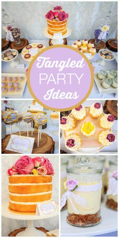 What an amazing Tangled girl birthday party with cake pops, themed decorations, desserts in a jar and a layer cake.  See more party ideas at CatchMyParty.com!
