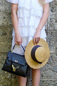 Heartfelt Hunt - Summer Contrast - White off-shoulder dress, straw hat, vintage MCM bag, Birkenstock sandals and long, blonde hair