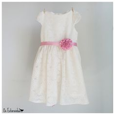 Girls lace Dress - Girls  Ivory white Lace  Dress,   pink satin ribbon flower belt. €30.00, via Etsy.