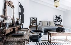 A bedroom in Malene Birger's finca in the Mallorcan countryside.