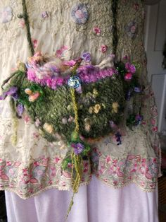 rustic handknit forest fairytale fantasy art bag - wildflower, mosses and faeries shoulder bag