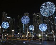 Large Outdoor Decorative LED Dandelion Lights   YanDecor High Building, Public Art, Dandelion Light, Dubai, My Design, Chandelier, Ceiling Lights, Dandelions, Light Decorations