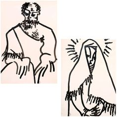 UCHE OKEKE JOSEPH MOTHER OF CHRIST 1962 INK AND BRUSH ON PAPER 61.6 x 44.8 cm.