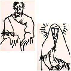 UCHE OKEKE JOSEPH MOTHER OF CHRIST 1962 INK AND BRUSH ON PAPER 61.6 x 44.8 cm.