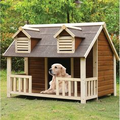 Super diy dog house with porch outdoor cats ideas Dog House With Porch, Small Dog House, Wooden Dog House, Build A Dog House, Large Dog House Plans, House Dog, House Building, Small Houses, Building Plans