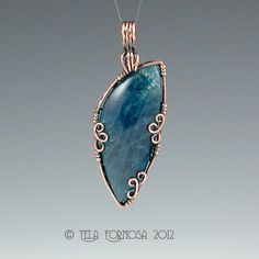 Indigo Blue Apatite Handmade Artisan Crafted Wire Wrapped Pendant