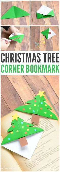 Christmas Tree Corner Bookmarks Origami for Kids is part of Kids Crafts Cards Stamps If your kids are eager to make their own DIY gifts for Christmas these Christmas Tree Corner Bookmarks are perfe - Christmas Activities For Kids, Kids Christmas, Christmas Gifts, Origami Christmas Tree, Christmas Trees, Christmas Tree Decorations For Kids, Kids Holidays, Christmas Ornament, Paper Crafts For Kids