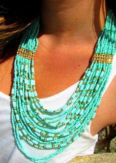 turquoise beaded necklace by SunKissedGem on Etsy