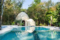 Hotel ecológico, Villa Duendes Akumal, where to stay in riviera maya / Akumal beach / Riviera Maya / México, Yucatan peninsula Tulum Mexico, México Riviera Maya, Akumal Beach, Hostels, Hotel Villas, Pet Friendly Hotels, Unique Buildings, Plunge Pool, Unique Architecture