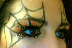 Candy Corn Witch spider web eye makeup for Halloween