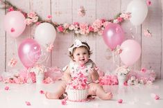 Floral cake smash, pink and white cake smash, girly cake smash, flower cake smash, vintage cake smash,Themed Baby Cake Smash Photos By Brandie Narola Photography, Cake Smash Session, Smash Cake, First Birthday Photo
