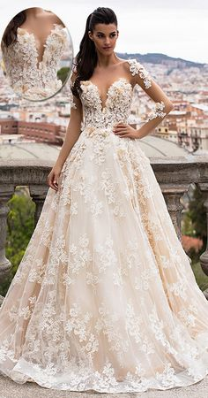 Lavish Tulle & Satin Bateau Neckline A-Line Wedding Dresses With Beaded Lace Appliques