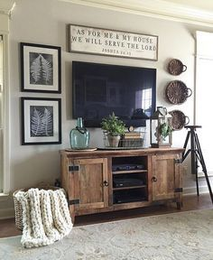 Living Room decor - rustic farmhouse style. TV entertainment center wall decor | Our Vintage Nest