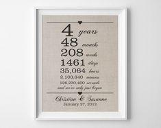 4 Years Together Linen Anniversary Print 4th By Quillandflourish Year Wedding AnniversaryThird AnniversaryAnniversary IdeasWedding LinensHusband