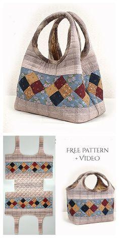 Diy two way quilt handbag free sewing pattern + video fabric art diy free quilting pattern dutch treat Bag Sewing Pattern, Bag Patterns To Sew, Sewing Patterns Free, Free Sewing, Handbag Patterns, Quilted Bags Patterns, Sewing Tips, Doll Patterns, Denim Bag Patterns