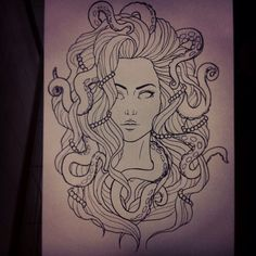 Inspiring Realistic Drawings, Illustrations and Ideas. Awe Inspiring Realistic Drawings, Illustrations and Ideas. Medusa Drawing, Medusa Art, Octopus Drawing, Drawing Hair, Octopus Sketch, Leg Tattoos, Body Art Tattoos, Girl Tattoos, Sleeve Tattoos