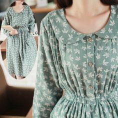Gender: Women Waistline: Natural Fabric Type: Batik Dresses Length: Knee-Length Season: Spring Silhouette: Straight Neckline: Peter pan Collar Sleeve Length: Full Decoration: Button Pattern Type: Prin