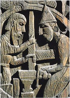 12th-century carving from a wood panel in a church in Setesdal, Norway, depicts a scene from the Norse legend of Sigurd (Siegfried). Here, the dwarf Regin and his helper are shown forging a sword on an anvil.