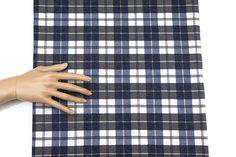Blue Plaid Baby French Terry Knit Fabric 1 Yard  by felinusfabrics