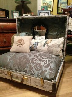 Beautiful Parisian Pet Suitcase Bed Shipping by LaTeeDawgs on Etsy Puppy Beds, Pet Beds, Doggie Beds, Doggies, Custom Dog Beds, Dog House Bed, Pet Furniture, Repurposed Furniture, Diy Dog Bed
