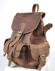 coffee Vintage leather backpack