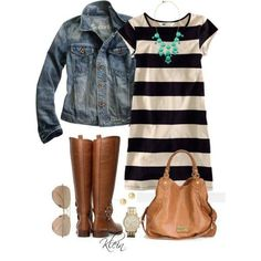 Striped dress and denim jacket - in my closet!
