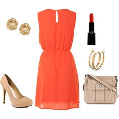 Simple but bright summer dress with nude accessories.