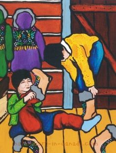 New Boots - a painting by the Ojibwa artist Nokomis available as a card or matted print from Native Art in Canada. New Boots - a Matted print by Nokomis Image Size: x Mat Size: x Twenty dollars Woodlands School, Powwow Regalia, Pow Wow, My Heritage, Native Art, First Nations, Nativity, Native American, Whimsical