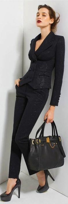 Rachel Zoe suit. All black perfection.