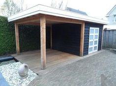 Tuinhuis met overkapping van douglas hout Backyard Studio, Garden Studio, Backyard Retreat, Backyard Projects, Backyard Patio, Garden Gazebo, Rooftop Garden, Outdoor Rooms, Outdoor Living