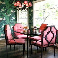 """This Martinique wallpaper is probably one of the most recognisable in the world.  It resides in the """"Fountain Coffee Room"""" at the Beverly Hills Hotel created by decorator Don Loper in 1942.  Nicky Hilton was inspired to use the same theme in her breakfast room & kitchen"""