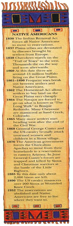 Native America's Timeline, the last one about living anywhere they would like is alittle misleading since most stay on the reservations or nations for health care, family, lack of money to go anywhere else, many different reasons that the families are still in the same place as their ancestors.