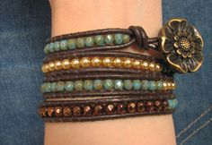 Turquoise Bronze Four Wrap Bracelet Vintage look by FamenineBijou